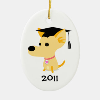 De grappige Hond van Afstuderen Keramisch Ovaal Ornament