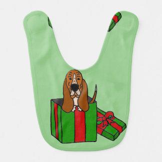 De grappige Hond van Basset Hound in het Pakket Baby Slabbetje