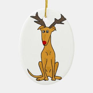 De grappige Hond van de Windhond als Rendier van Keramisch Ovaal Ornament