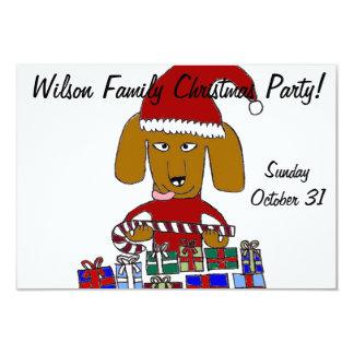 De grappige Hond van Kerstmis 8,9x12,7 Uitnodiging Kaart
