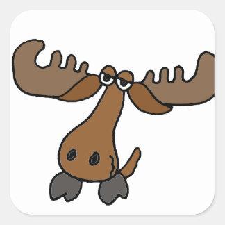 De grappige HoofdCartoon van Amerikaanse elanden Vierkante Sticker