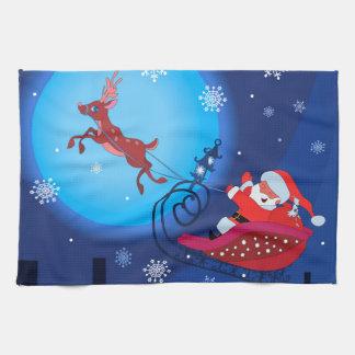 De grappige illustratie van Kerstmis. Kerstman met Theedoek