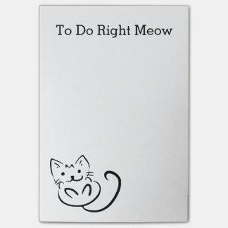 De grappige JUISTE MIAUW van de Kat om Lijst te Post-it® Notes