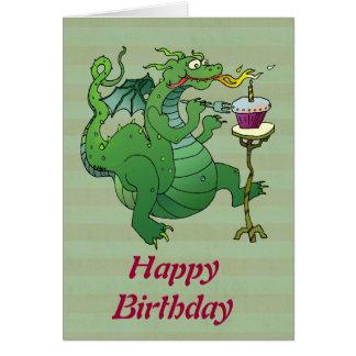 De grappige Kaarsen van de Verjaardag van de Draak Kaart