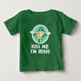 De grappige Kabouter kust me ik ben Ierse Heilige Baby T Shirts