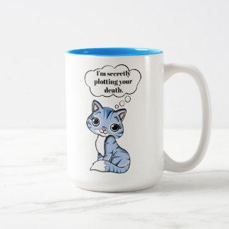 De grappige Kat die van het Kat Uw Dood in kaart Tweekleurige Koffiemok