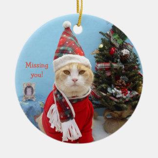 """De grappige Kat die van Kerstmis """"u missen! """" Rond Keramisch Ornament"""