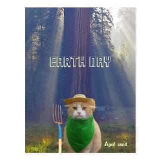 De grappige Kat van de Dag van de Aarde Briefkaart