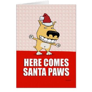De grappige Kerstkaart van de Hond van de Poten Briefkaarten 0