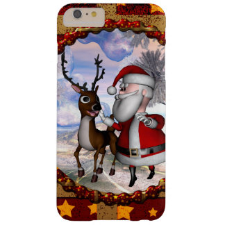 De grappige Kerstman met rendier Barely There iPhone 6 Plus Hoesje