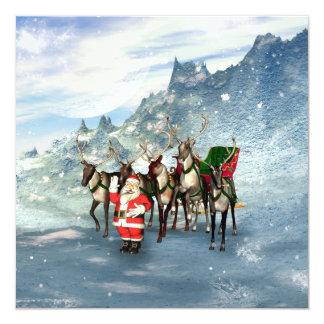 De grappige Kerstman met rendier en ar 13,3x13,3 Vierkante Uitnodiging Kaart