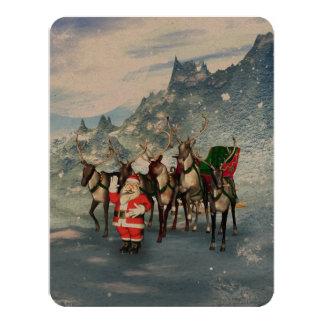 De grappige Kerstman met rendier en ar 10,8x13,9 Uitnodiging Kaart