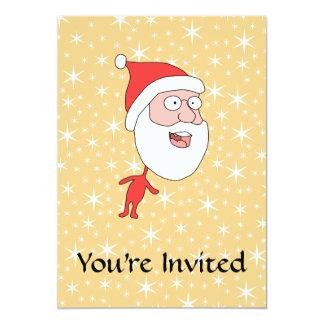 De grappige Kerstman, op het Gouden Patroon van de Custom Uitnodigingen