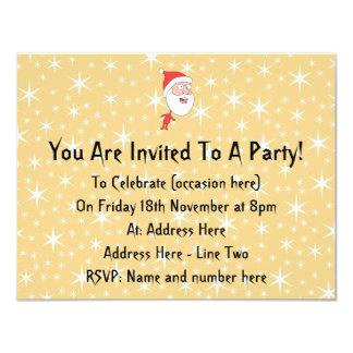 De grappige Kerstman, op het Gouden Patroon van de 10,8x13,9 Uitnodiging Kaart