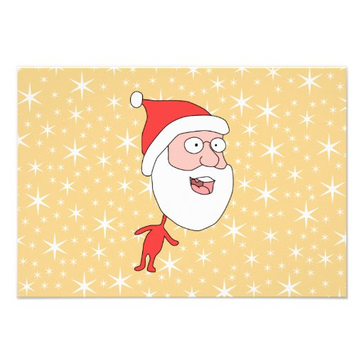 De grappige Kerstman, op het Gouden Patroon van de Persoonlijke Uitnodigingen