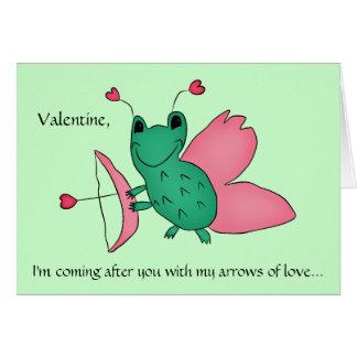 De grappige kikker van Valentijn cupid Kaart