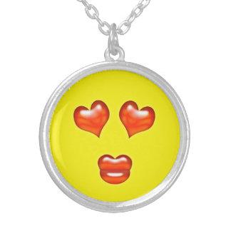 De grappige Kus Emoji Smiley van de Liefde Zilver Vergulden Ketting