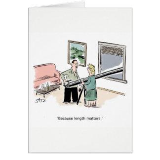 De grappige lengte is wenskaart van belang