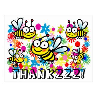 de grappige leuke cartoonbijen danken u briefkaart