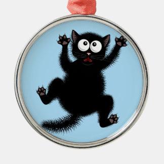 De grappige Leuke Zwarte Doen schrikken Kat van de Zilverkleurig Rond Ornament