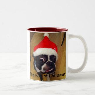 De grappige mok van Kerstmis van Boston Terrier