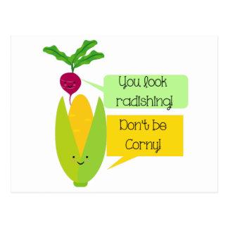 De grappige Plantaardige Humor van de Radijs en Briefkaart
