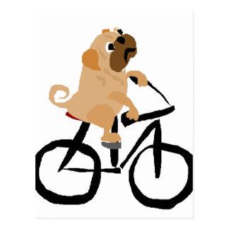 De grappige Pug Berijdende Fiets van de Hond van Briefkaart