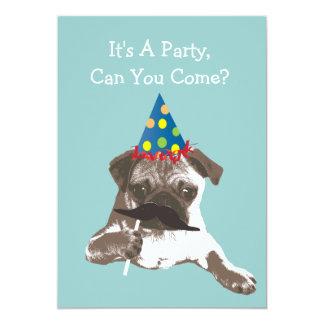 De grappige Pug van de Snor Uitnodiging van de