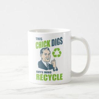 De grappige Retro Slogan van het Recycling Koffiemok
