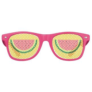 De grappige roze partij van het watermeloenfruit retro zonnebril