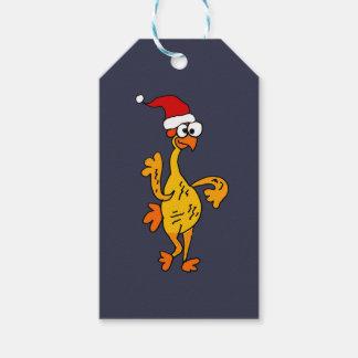 De grappige RubberCartoon van Kerstmis van de Kip Cadeaulabel