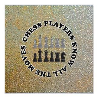 De grappige Spelers van het Schaak kennen Alle 13,3x13,3 Vierkante Uitnodiging Kaart