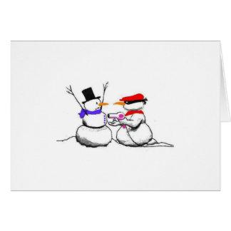 De grappige Stok van de Sneeuwman op Kerstkaart Kaart