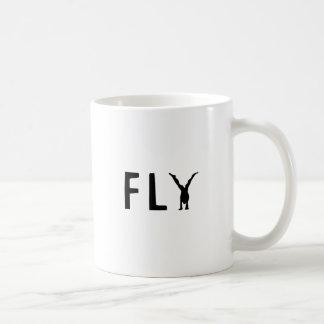 De grappige tekst van de vlieg en menselijk koffiemok