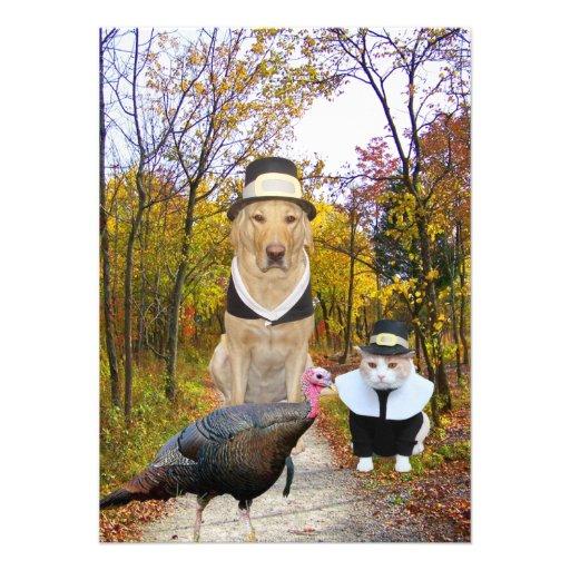 De grappige Uitnodiging van de Thanksgiving van Hu
