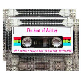 De grappige van de de jaren '80Cassette van DJ 12,7x17,8 Uitnodiging Kaart