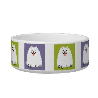 De grappige Witte Hond van de Cartoon Pomeranian Voerbakje