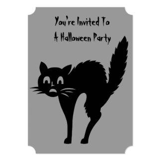 de grappige zwarte boze kattenHalloween partij 12,7x17,8 Uitnodiging Kaart
