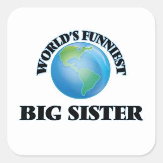 De Grappigste Grote Zuster van de wereld Vierkant Stickers