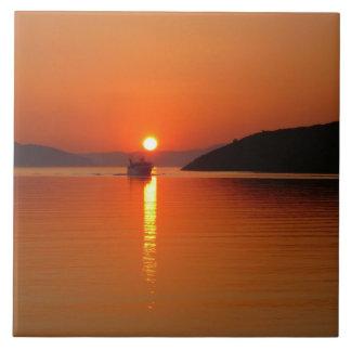 De Griekse Tegel van de Foto van de Zonsondergang  Keramisch Tegeltje