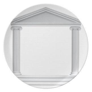 De Griekse Tempel van de Kolom Diner Borden
