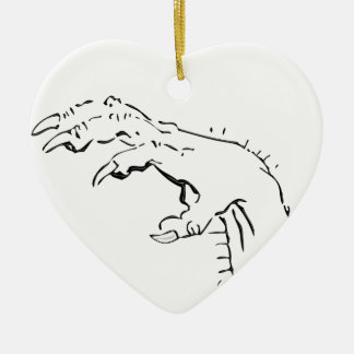 De griezelige Angstaanjagende Hand van de Klauw Keramisch Hart Ornament