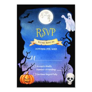 De griezelige Schedel Halloween RSVP van het Spook 8,9x12,7 Uitnodiging Kaart