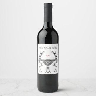 De griezelige vintage tekening van het wijnetiket