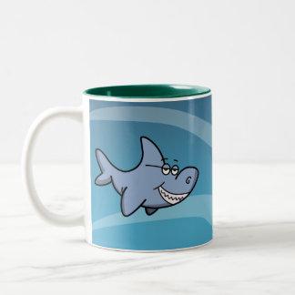 De Grijns van de haai Tweekleurige Koffiemok
