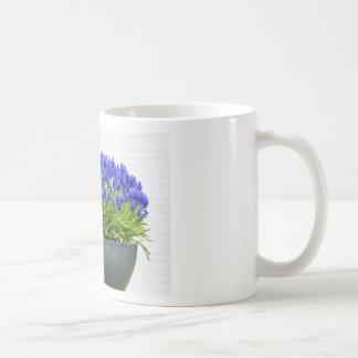 De grijze doos van de metaalbloem met blauwe koffiemok