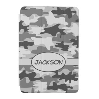 De grijze Gepersonaliseerde Naam van de Camouflage iPad Mini Cover