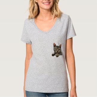 De grijze Gestreepte T-shirt van de Kat van de