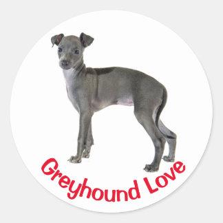 De grijze Italiaanse Rode Liefde van de Hond van Ronde Sticker