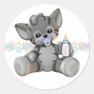 De grijze Jongen van het Baby van het Katje van de Ronde Sticker